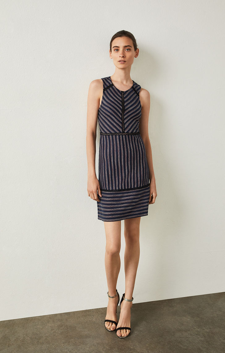 BCBGMAXAZRIA: Window Stripe Jacquard Dress