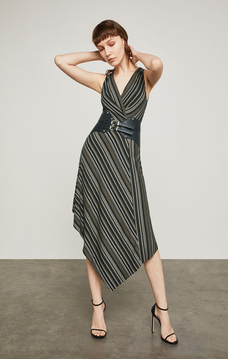 BCBGMAXAZRIA: Asymmetrical Faux-Wrap Dress