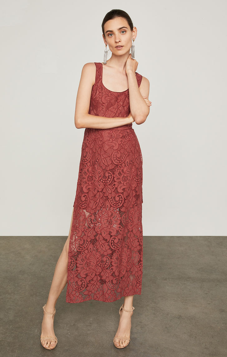 BCBGMAXAZRIA: Sleeveless Floral Lace Dress