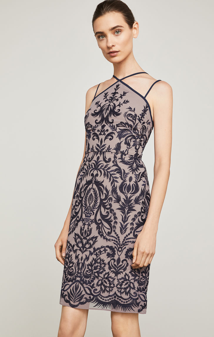 BCBGMAXAZRIA: Embroidered Halter Dress