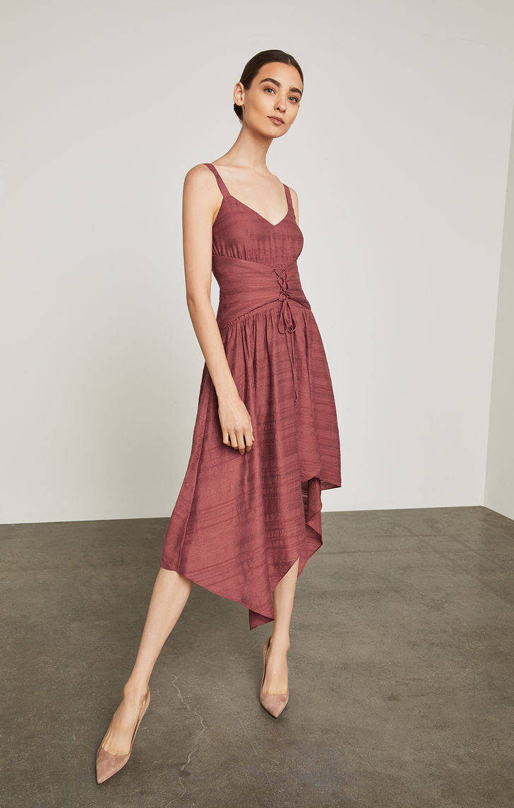 BCBGMAXAZRIA: Lace-Up Asymmetrical Dress