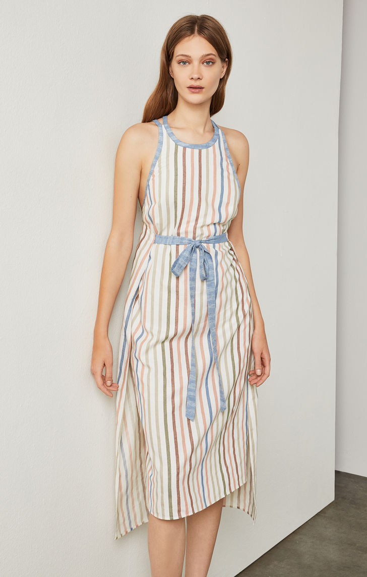 BCBGMAXAZRIA: Sleeveless Striped Wrap Dress