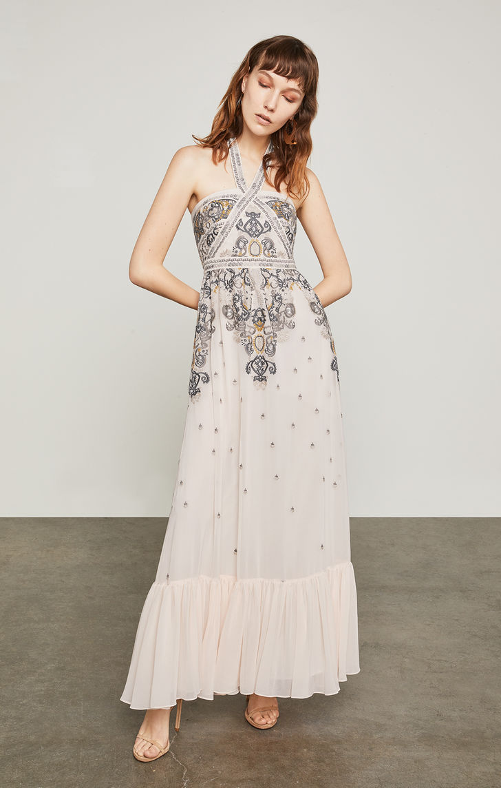 BCBGMAXAZRIA: Embroidered Halter Gown