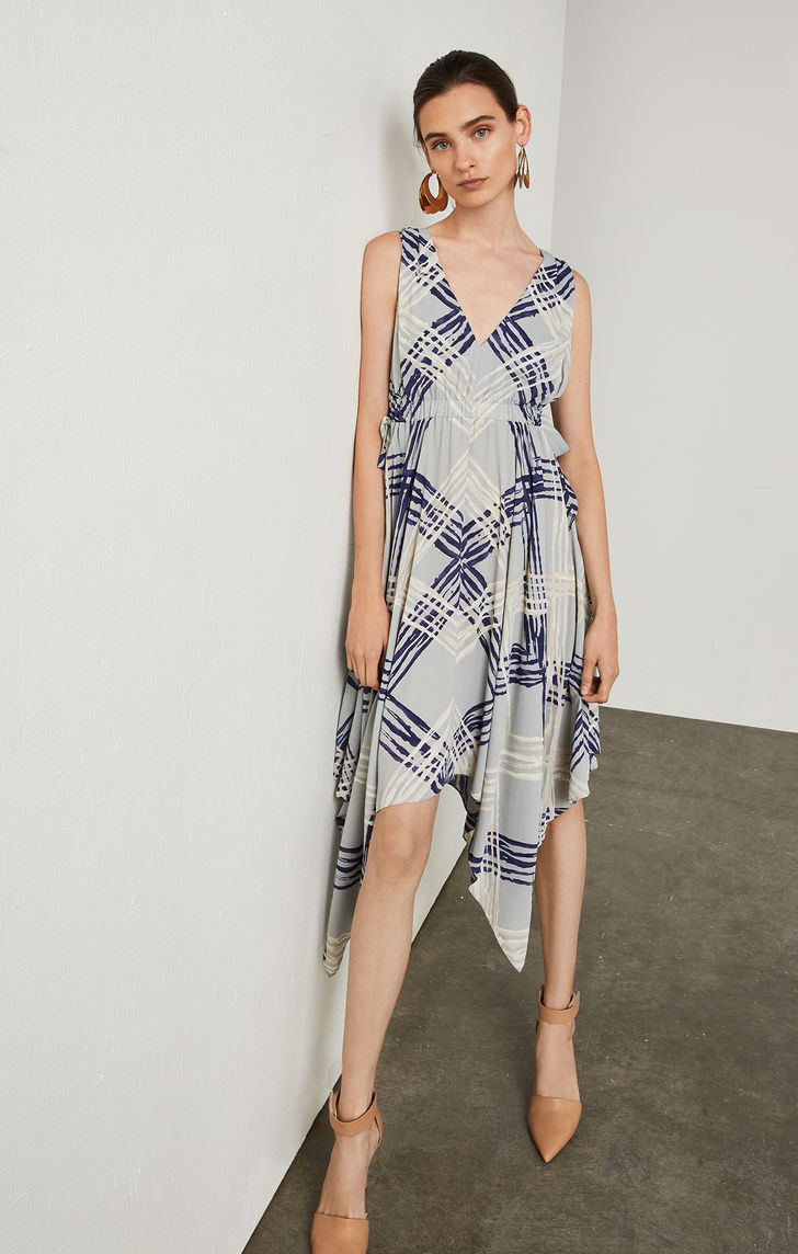 BCBGMAXAZRIA: Palm Chevron Handkerchief Dress
