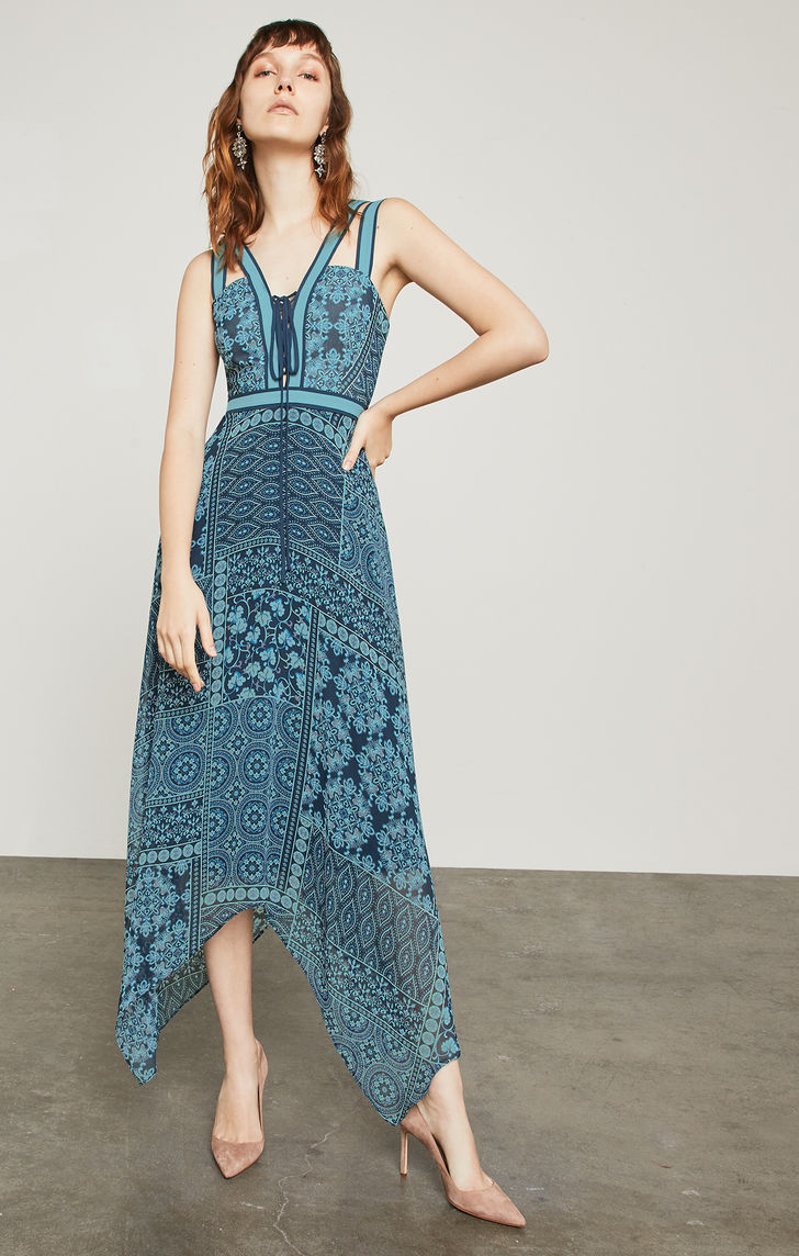 BCBGMAXAZRIA: Floral Tile Patchwork Maxi Dress