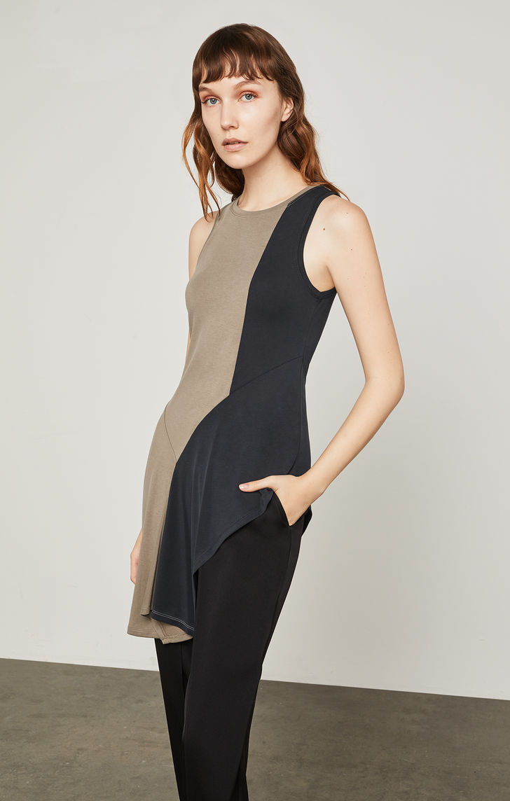 BCBGMAXAZRIA: Asymmetrical Color-Blocked Tank