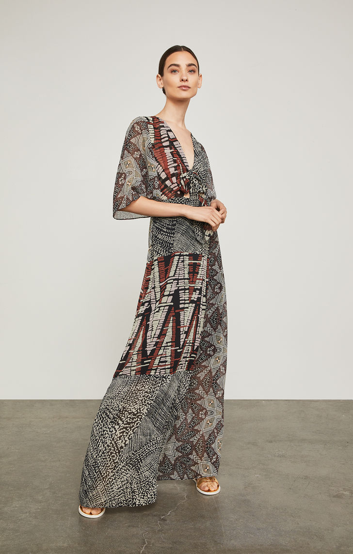 BCBGMAXAZRIA: Patchwork Maxi Wrap Dress