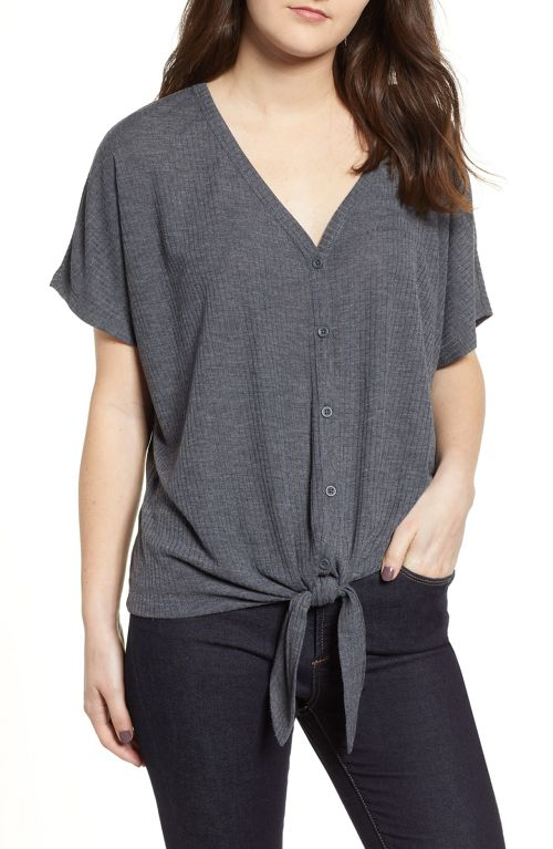 NORDSTROM: Button Front Knot Hem Tee