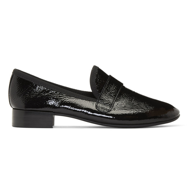 Repetto: Black Wrinkled Patent Maestro Loafers