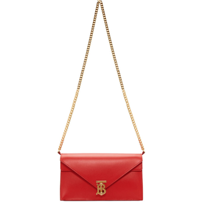 Burberry: Red Small TB Envelope Bag