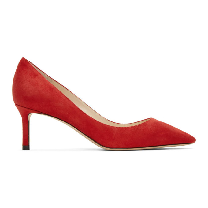 "Jimmy Choo: Red Suede Romy 60 Heels<span class=""productModel"">[192528F122004]</span>   by  <a href=""https://www.dresseye.me/catalog/index.php?storeid=1"">VogueAll</a>"