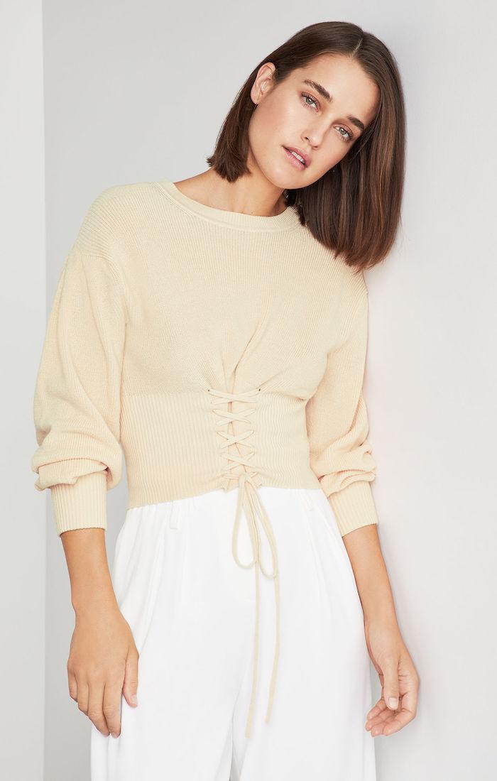 BCBGMAXAZRIA: Lace Up Crop Sweater