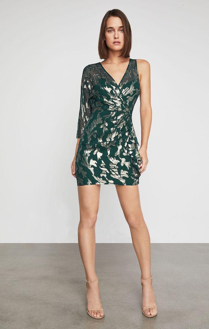 BCBGMAXAZRIA: Metallic Faux Wrap Dress