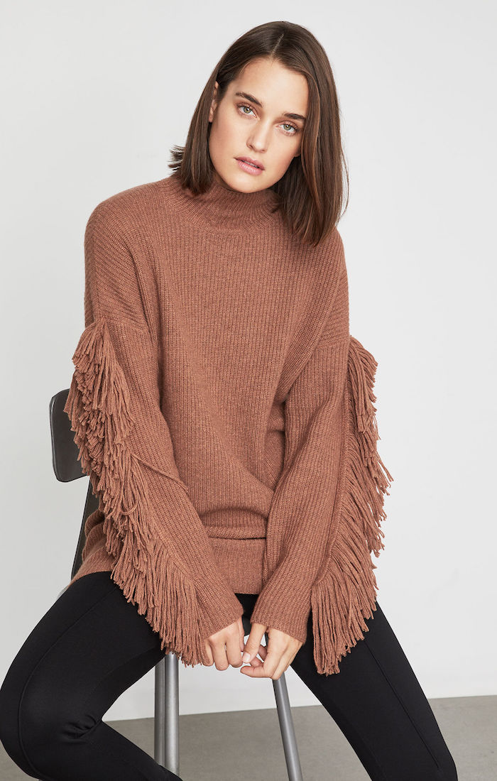 BCBGMAXAZRIA: Fringe Turtleneck Tunic Sweater