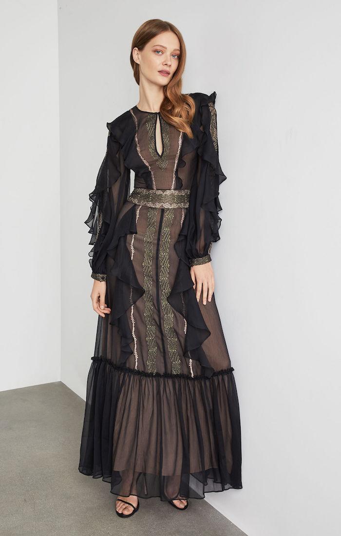 BCBGMAXAZRIA: Metallic Embroidered Maxi Dress