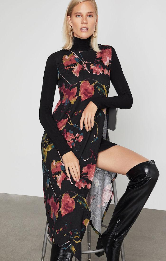 BCBGMAXAZRIA: Kabrina Asymmetrical Floral Turtleneck Dress