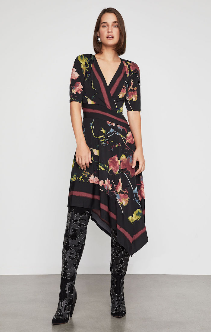BCBGMAXAZRIA: Floral Asymmetric Faux Wrap Dress