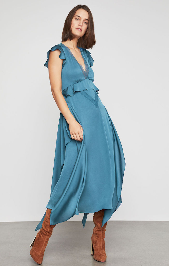 BCBGMAXAZRIA: Lace-Trimmed Draped Ruffle Dress