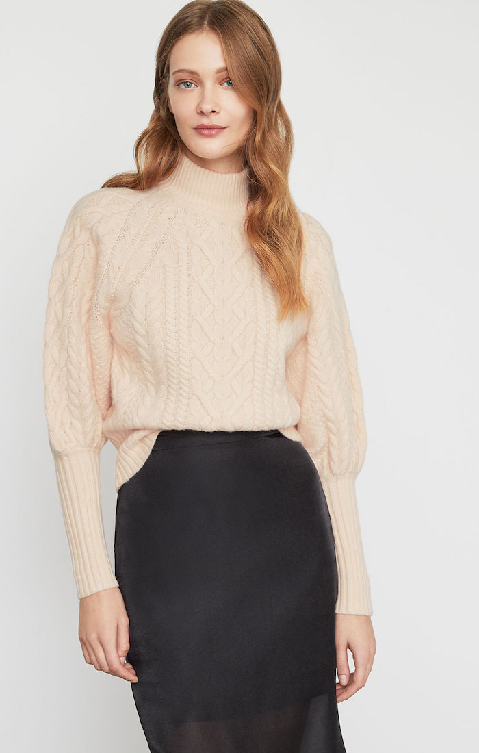 BCBGMAXAZRIA: Balloon Sleeve Turtleneck Sweater