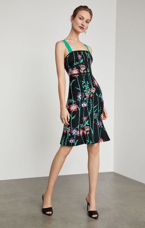 BCBGMAXAZRIA: Strappy Floral Bodycon Dress