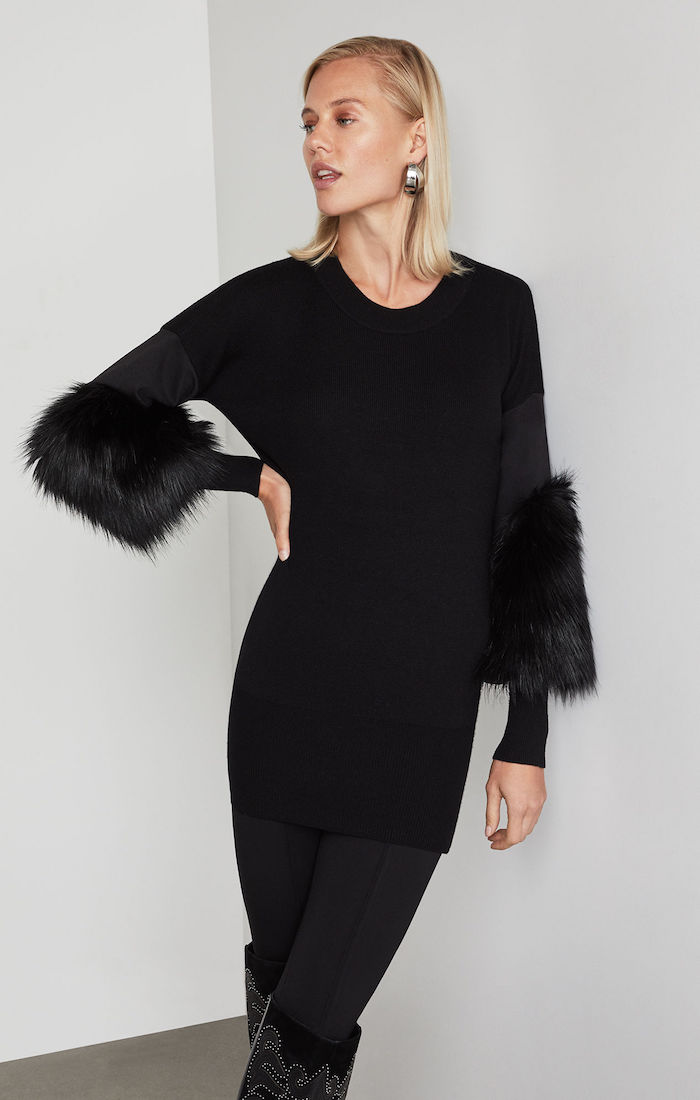 BCBGMAXAZRIA: Faux Fur Cuff Tunic Sweater