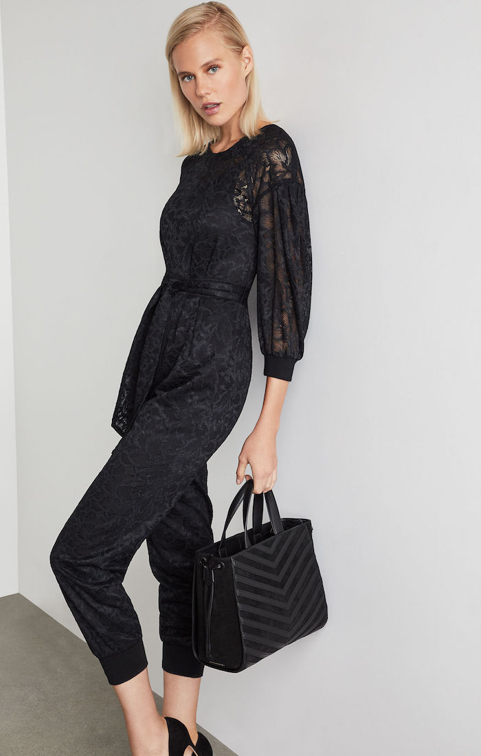 BCBGMAXAZRIA: Pleated Sleeve Lace Jumpsuit