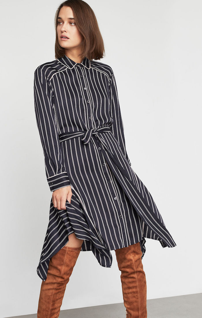 BCBGMAXAZRIA: Asymmetrical Striped Satin Dress