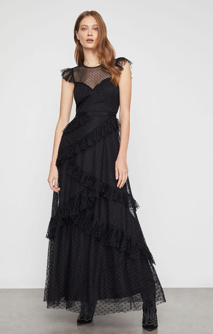 BCBGMAXAZRIA: Asymmetrical Ruffle Gown