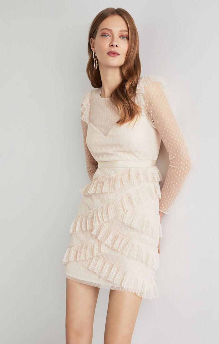 BCBGMAXAZRIA: Pleated Tulle Ruffle Dress