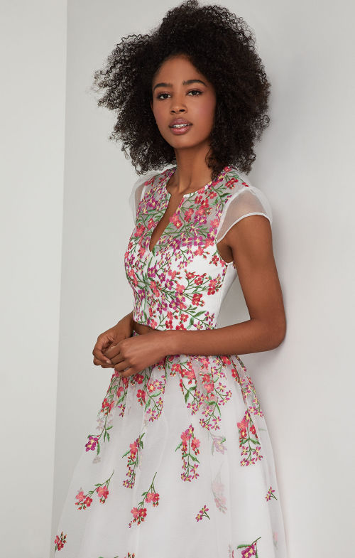 BCBGMAXAZRIA: Embroidered Floral Cropped Top