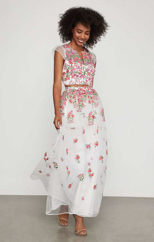 BCBGMAXAZRIA: Floral Embroidered Maxi Skirt