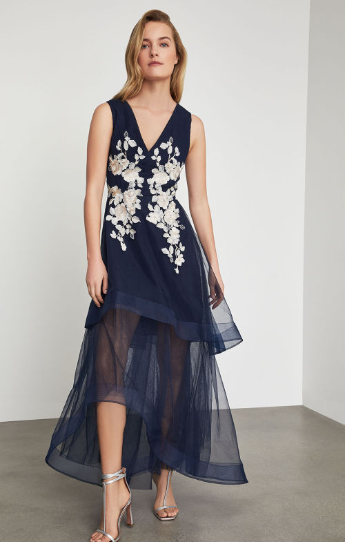 BCBGMAXAZRIA: Metallic Lace Applique Gown