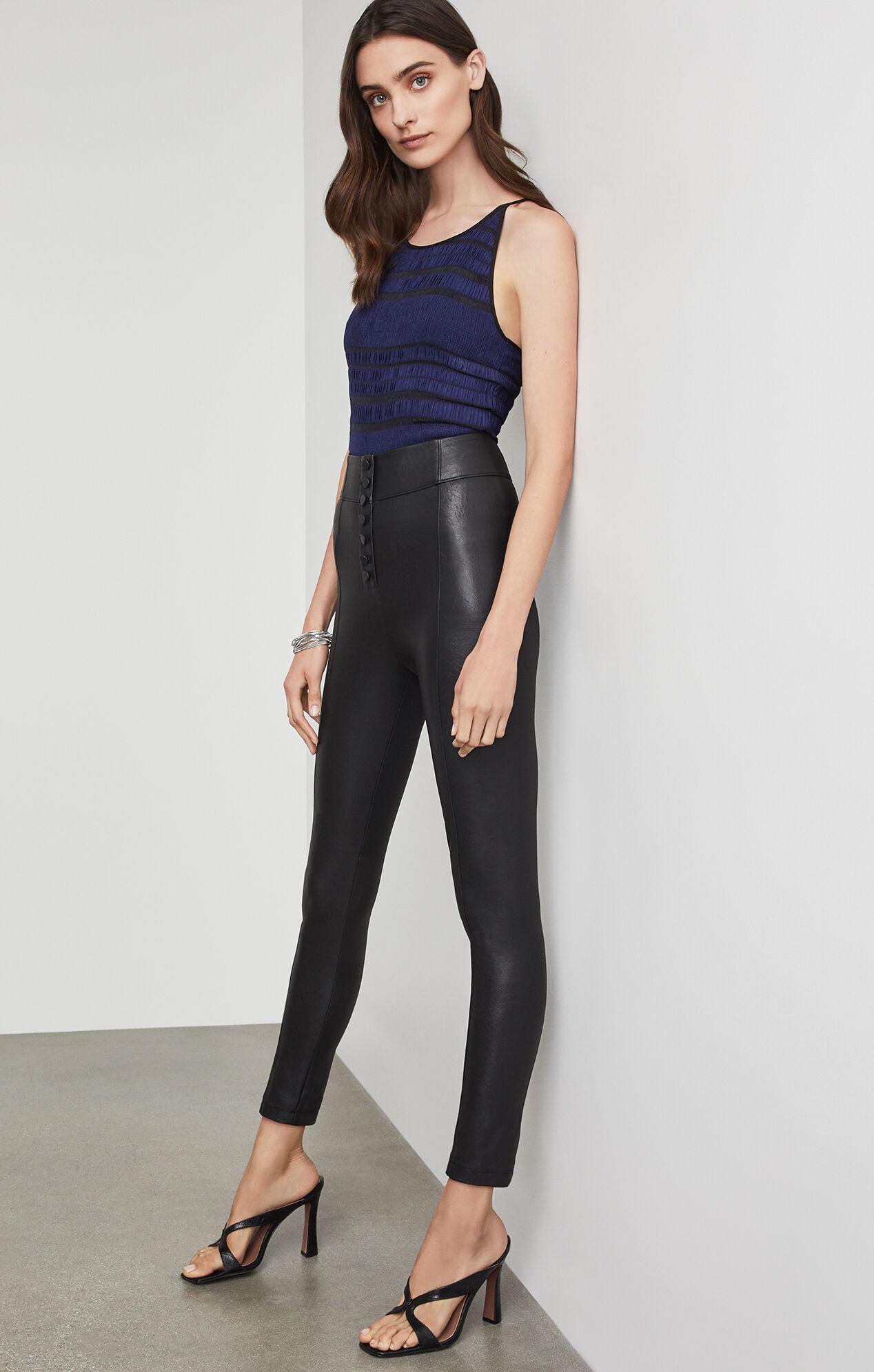 BCBGMAXAZRIA: Button Front Faux Leather Legging