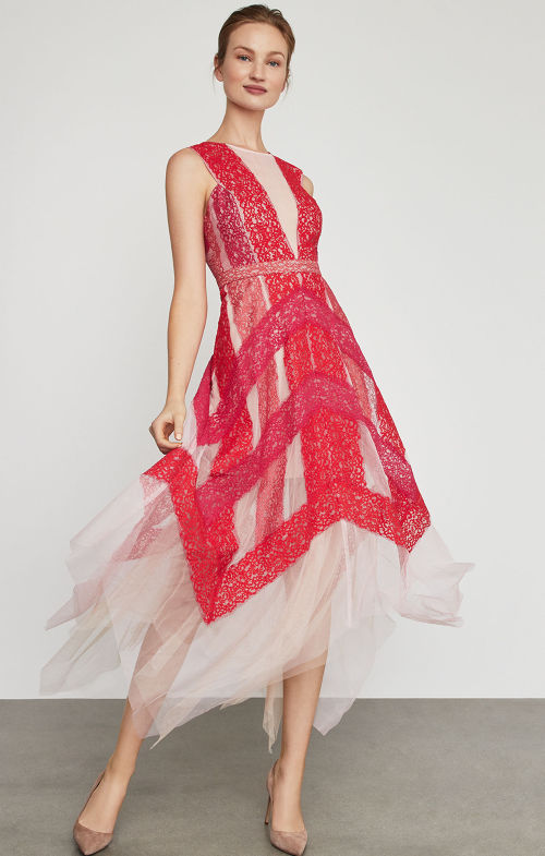 BCBGMAXAZRIA: Floral Lace Handkerchief Dress