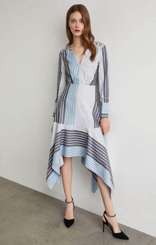 BCBGMAXAZRIA: Mixed Stripe Patchwork Dress