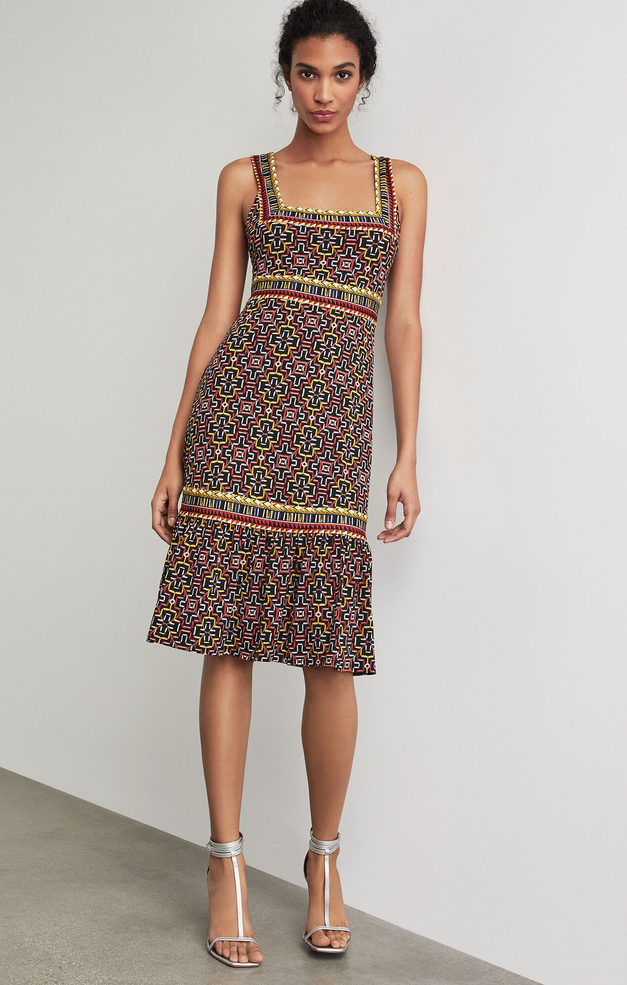 BCBGMAXAZRIA: Printed Square Neck Dress