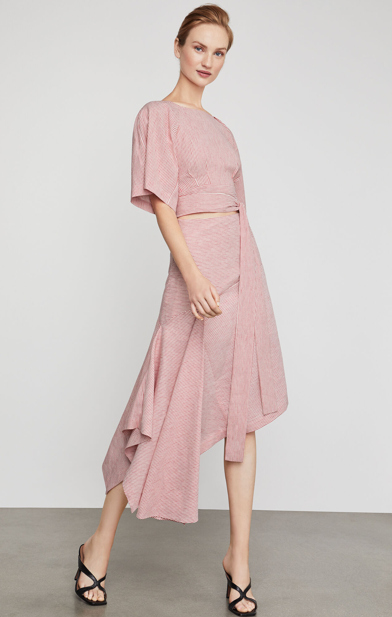 BCBGMAXAZRIA: Pinstripe Asymmetric Skirt