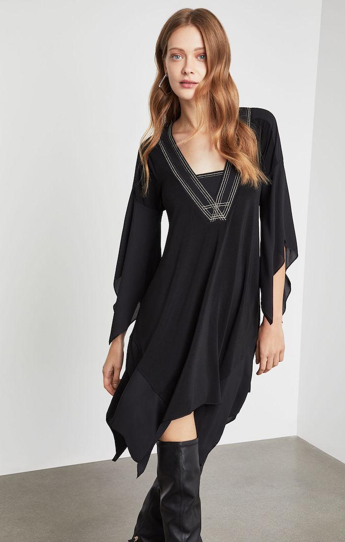 BCBGMAXAZRIA: Asymmetrical Embroidered Neck Dress
