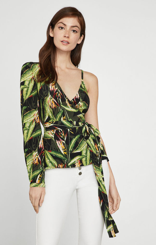 BCBGMAXAZRIA Bird of Paradise Wrap Top