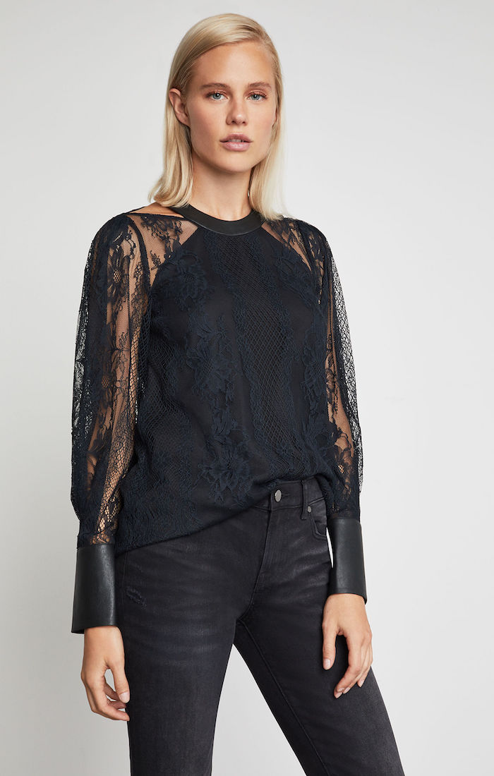 BCBGMAXAZRIA: Faux Leather-Trimmed Lace Top