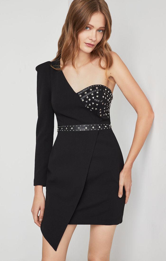 BCBGMAXAZRIA: Asymmetrical One Shoulder Dress