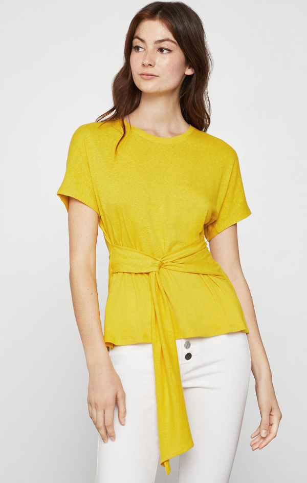BCBGMAXAZRIA Linen Jersey Wrap Top