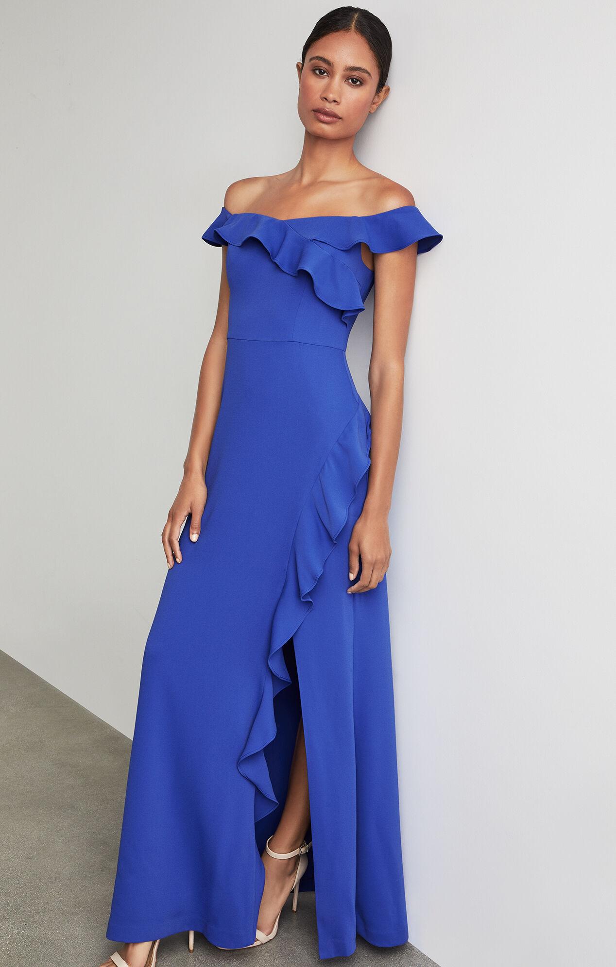 BCBGMAXAZRIA: Off The Shoulder Asymmetric Ruffle Gown