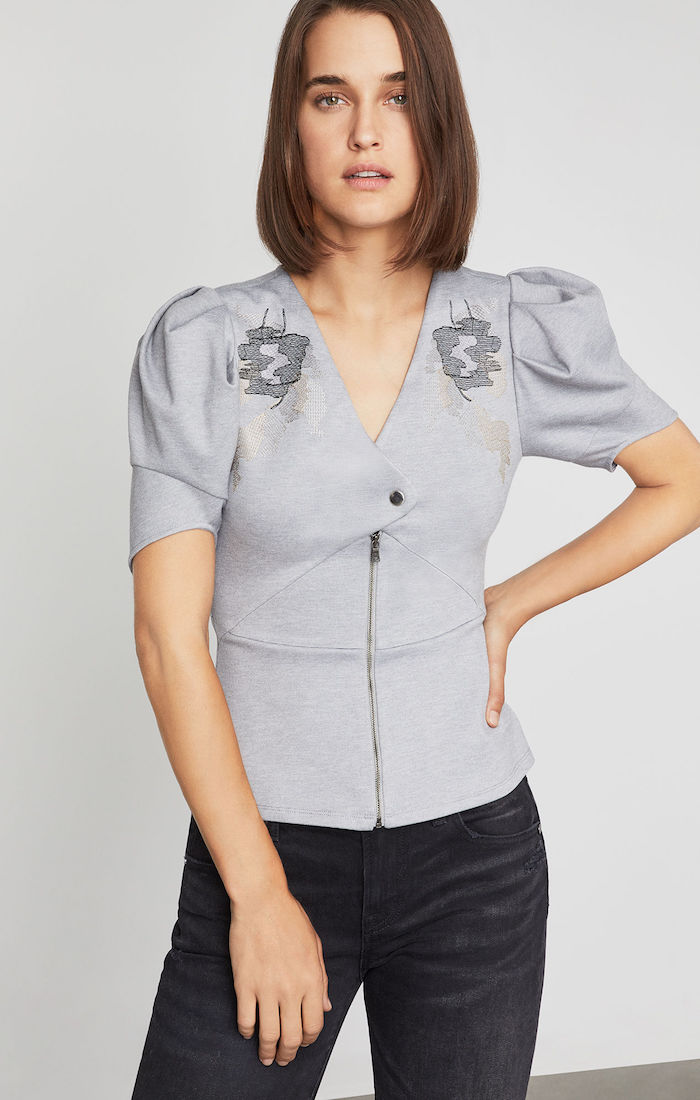 BCBGMAXAZRIA: Puff Sleeve Embroidered Top