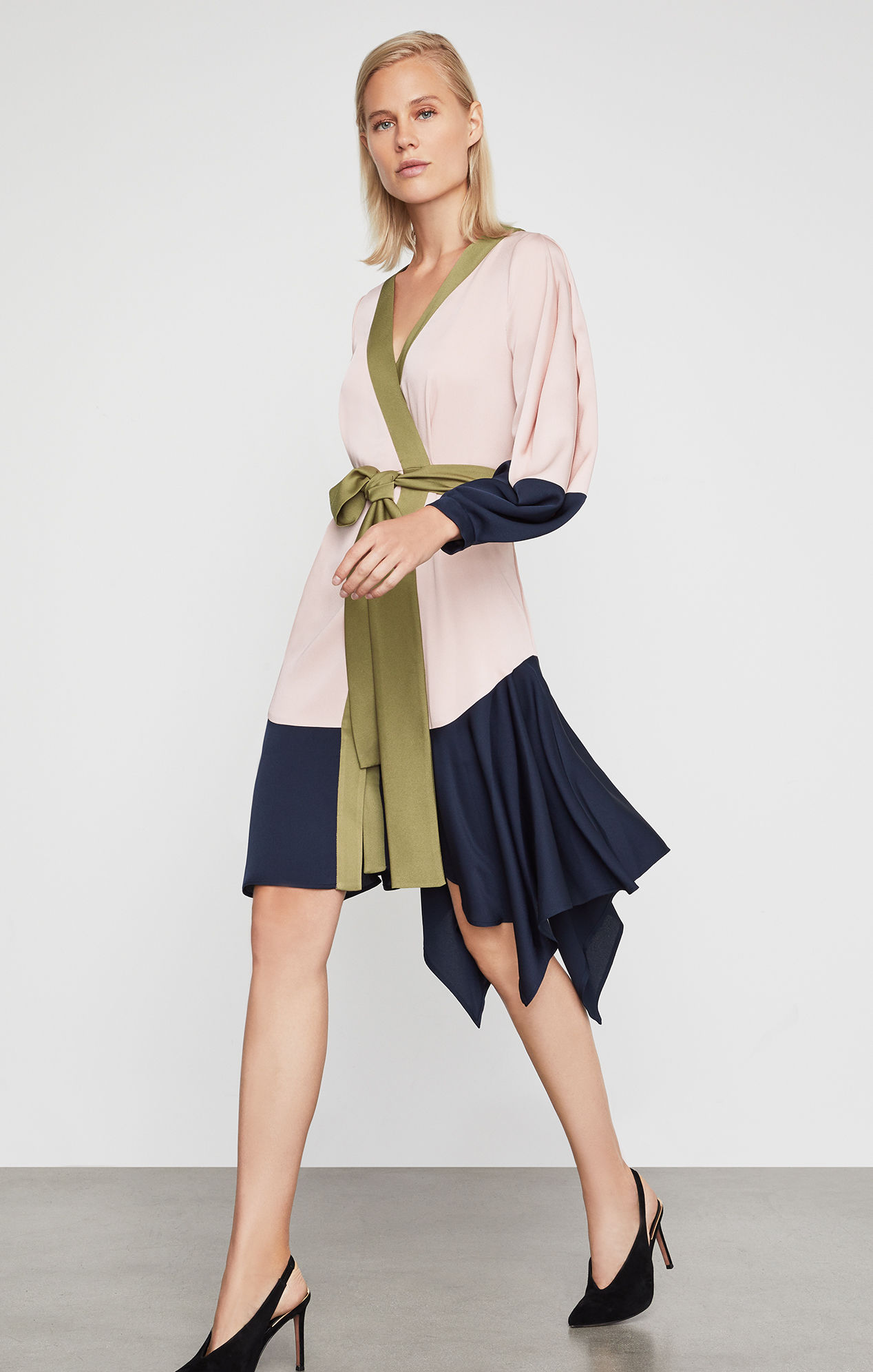 BCBGMAXAZRIA: Asymmetrical Colorblocked Wrap Dress