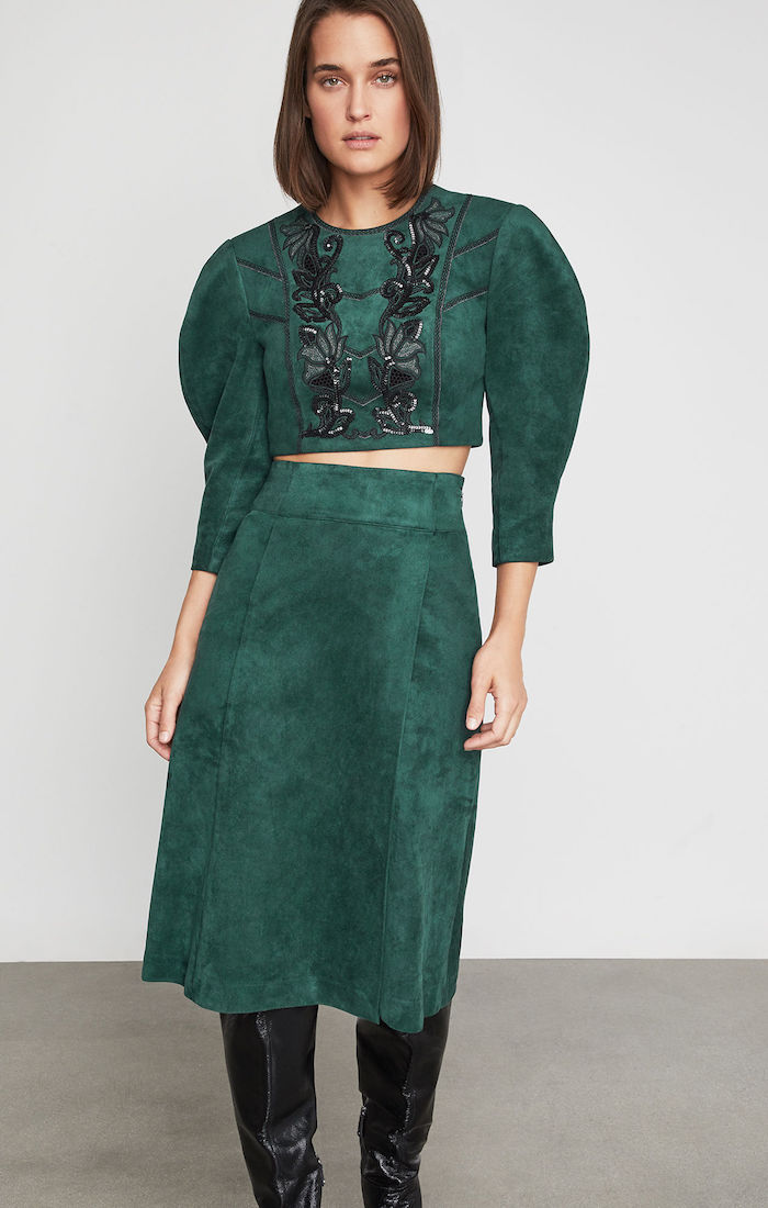 BCBGMAXAZRIA: Embroidered Faux Suede Crop Top