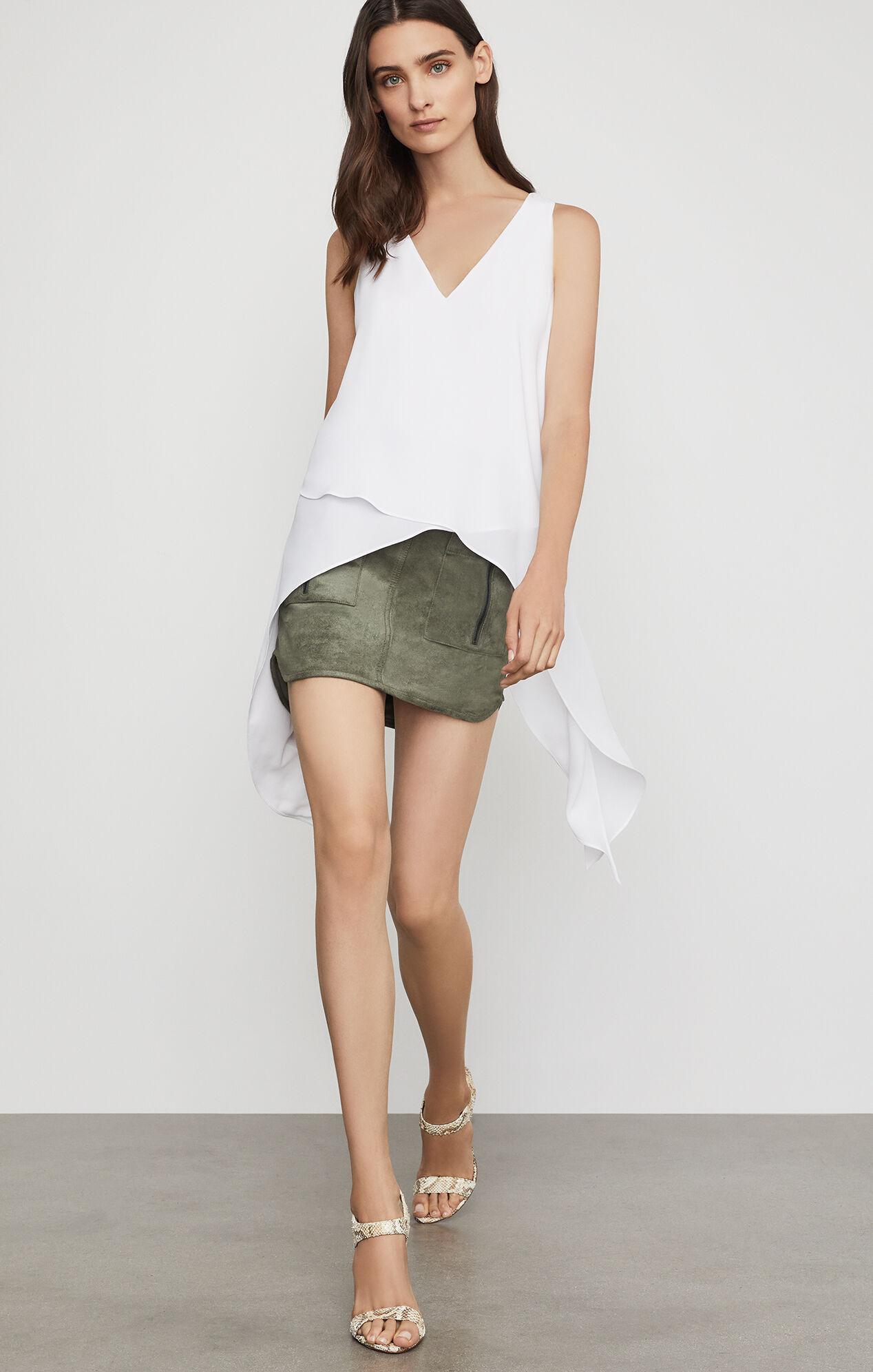 BCBGMAXAZRIA: Patch Pocket Faux Suede Skirt