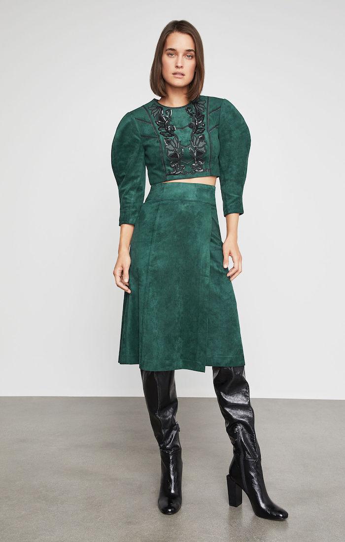BCBGMAXAZRIA: Faux Suede A-Line Skirt