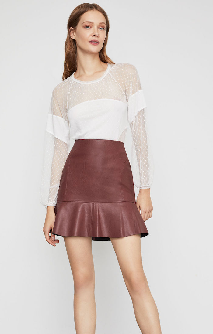 BCBGMAXAZRIA: Faux Leather Flounced Skirt