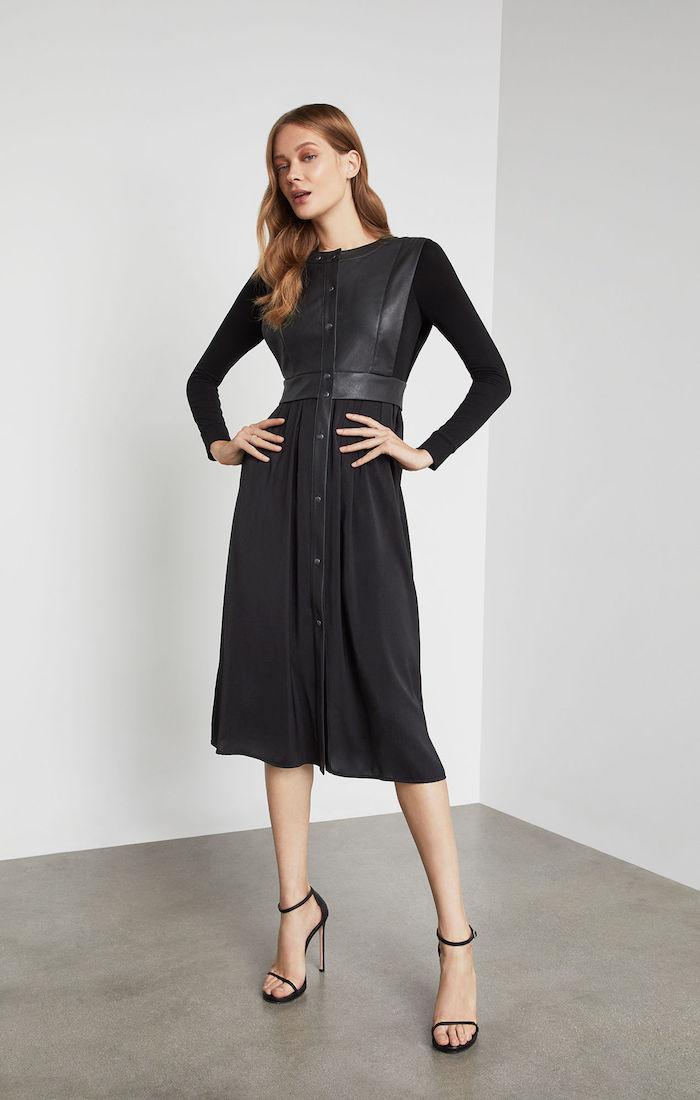 BCBGMAXAZRIA: Faux Leather Vest Dress